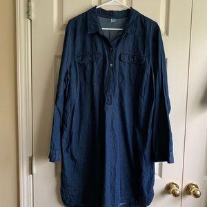 Chambray shirt dress long sleeve